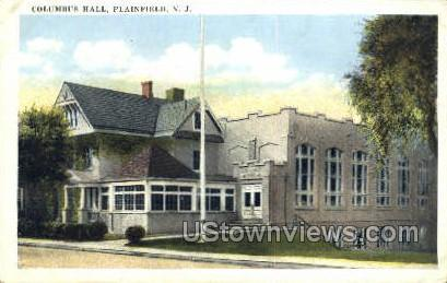 Columbus Hall - Plainfield, New Jersey NJ Postcard