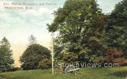 General Mercer Monument, Cannon - Princeton, New Jersey NJ Postcard