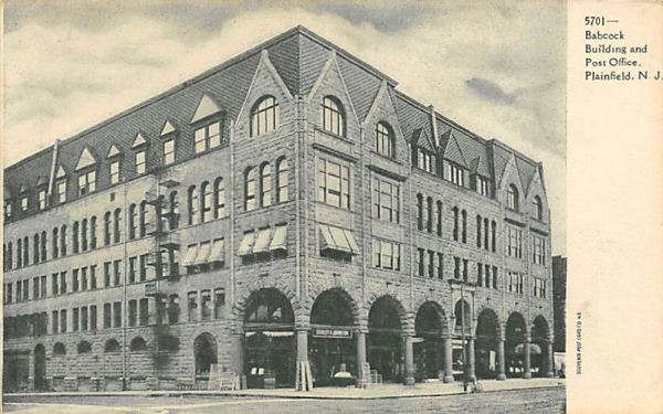 Babcock Building and Post Office Plainfield, New Jersey Postcard