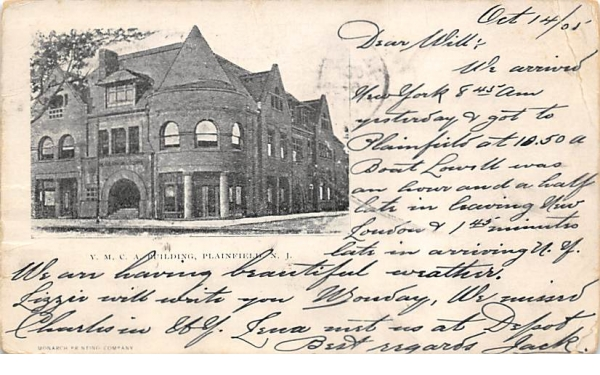 Y. M. C. A. Building Plainfield, New Jersey Postcard
