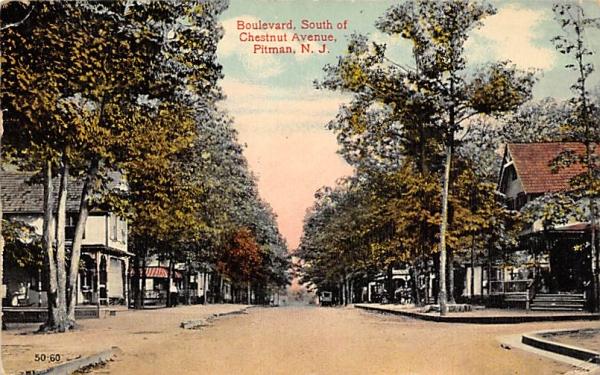 Boulevard, South of Chestnut Avenue Pitman, New Jersey Postcard