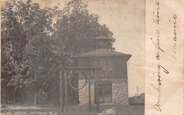 Fire House Pitman, New Jersey Postcard