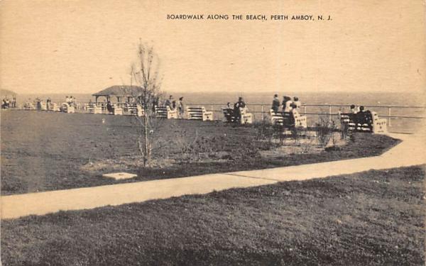 Boardwalk Along the Beach Perth Amboy, New Jersey Postcard