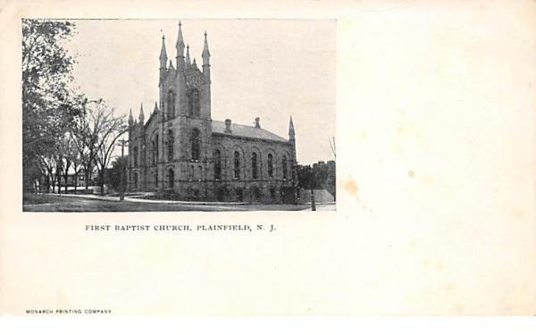 First Baptist Church Plainfield, New Jersey Postcard