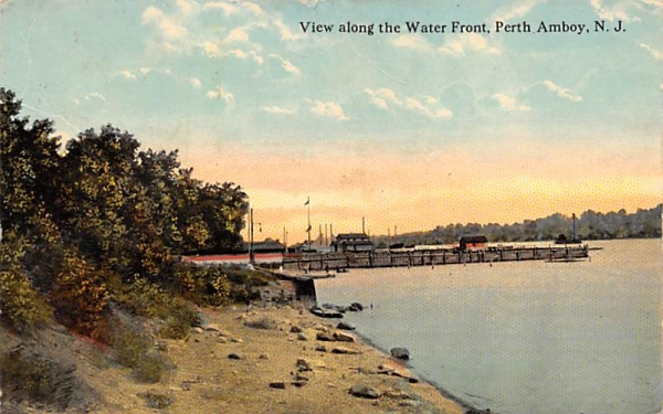 View along the Water Front Perth Amboy, New Jersey Postcard