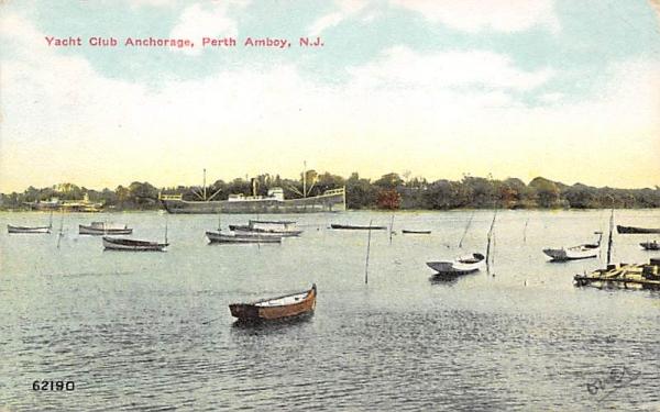 Yacht Club Anchorage Perth Amboy, New Jersey Postcard