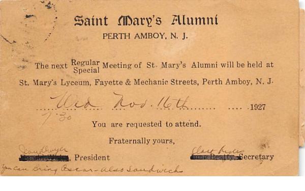 Saint Mary's Alumni Perth Amboy, New Jersey Postcard