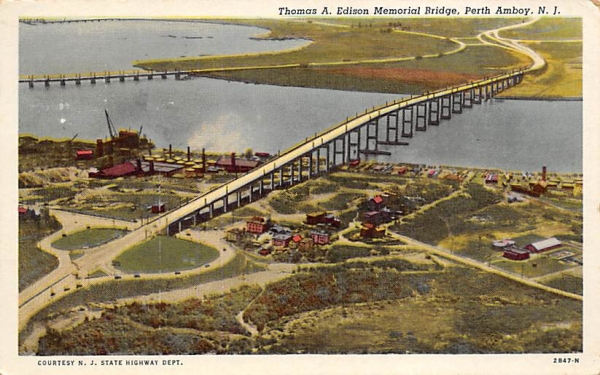 Thomas A. Edison Memorial Bridge Perth Amboy, New Jersey Postcard