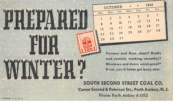 South Second Street Coal CO. non pc backing Perth Amboy, New Jersey Postcard