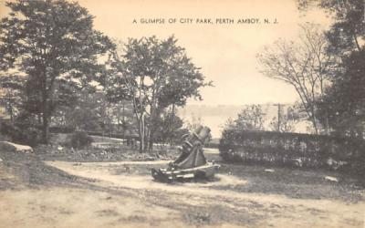 A Glimpse of City Park Perth Amboy, New Jersey Postcard