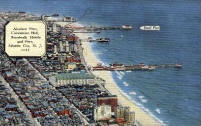 Convention Hall, Boardwalk Hotels - Atlantic City, New Jersey NJ Postcard