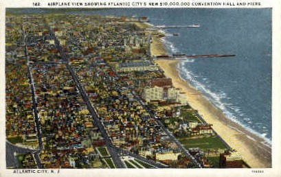 Convention Hall and Piers - Atlantic City, New Jersey NJ Postcard