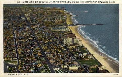 Convention Hall & Piers - Atlantic City, New Jersey NJ Postcard