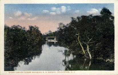 Stony Brook Scene showing R.R. Bridge - Princeton, New Jersey NJ Postcard