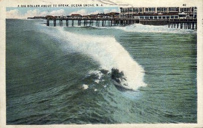 A Big Roller About to Break - Ocean Grove, New Jersey NJ Postcard
