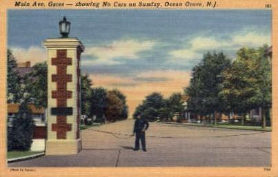 Main Ave. Gates  - Ocean Grove, New Jersey NJ Postcard
