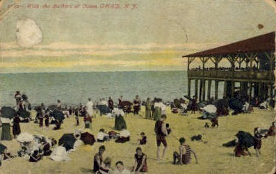 With the Bathers at Ocean Grove - New Jersey NJ Postcard