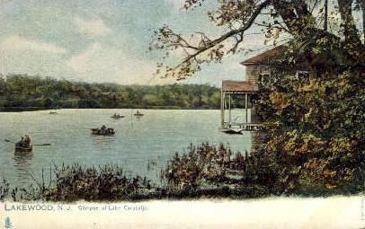 Glimpse of Lake Carasaljo - Lakewood, New Jersey NJ Postcard