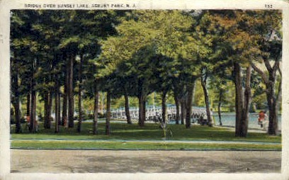 Bridge Over Sunset Lake - Asbury Park, New Jersey NJ Postcard