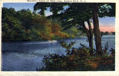Beautiful Scene on Deal Lake - Asbury Park, New Jersey NJ Postcard
