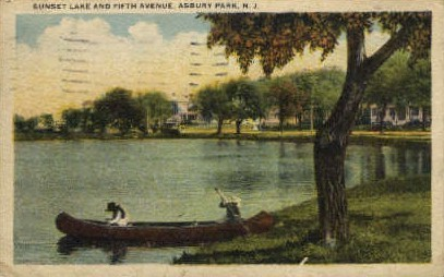 Sunset Lake and 5th Avenue  - Asbury Park, New Jersey NJ Postcard
