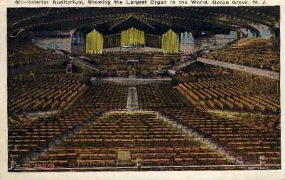 Auditorium Largest Organ in the World - Ocean Grove, New Jersey NJ Postcard