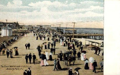 The Boardwalk Arcade in the Distance - Asbury Park, New Jersey NJ Postcard