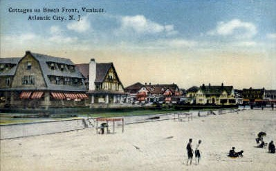 Cottages on Beach Front - Atlantic City, New Jersey NJ Postcard