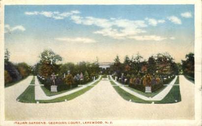 Italian Gardens, Georgian Court - Lakewood, New Jersey NJ Postcard