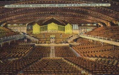 Auditorium, Largest Organ in World - Ocean Grove, New Jersey NJ Postcard