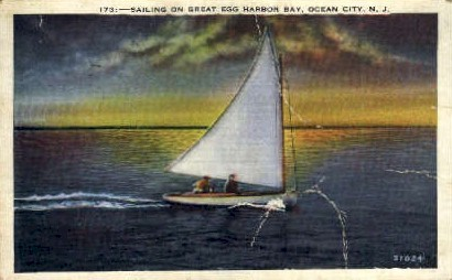 Sailing on Great Egg Harbor Bay - Ocean Grove, New Jersey NJ Postcard