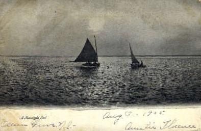A Moonlight Sail - Misc, New Jersey NJ Postcard