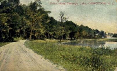 Drive Along Carnigie Lake  - Princeton, New Jersey NJ Postcard