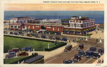 Asbury Ave. Pavilion and Fishing Pier - Asbury Park, New Jersey NJ Postcard