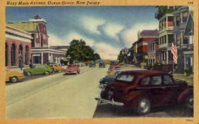 Busy Main Ave. - Ocean Grove, New Jersey NJ Postcard