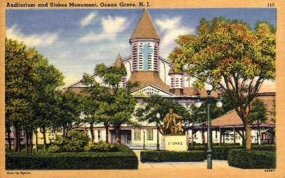 Auditorium and Stokes Monument - Ocean Grove, New Jersey NJ Postcard