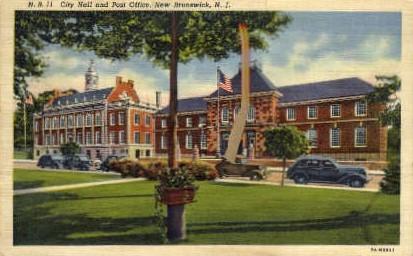 City Hall & Post Office - New Brunswick, New Jersey NJ Postcard