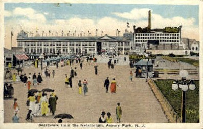 Boardwalk from the Natatorium - Asbury Park, New Jersey NJ Postcard