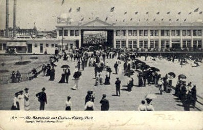 The Boardwalk & Casino - Asbury Park, New Jersey NJ Postcard