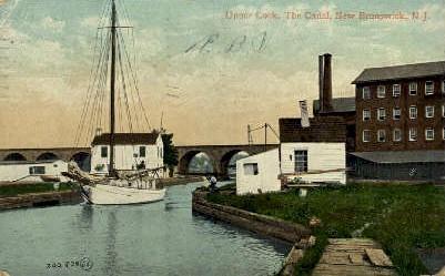 Upper Lock, The Canal - New Brunswick, New Jersey NJ Postcard