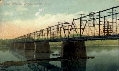 Upper Delaware Bridge - Trenton, New Jersey NJ Postcard