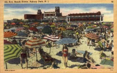 4th. Ave. Beach - Asbury Park, New Jersey NJ Postcard
