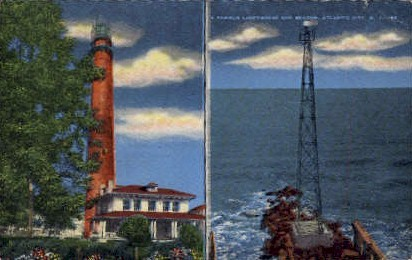 A Famous Lighthouse and Beacon - Atlantic City, New Jersey NJ Postcard