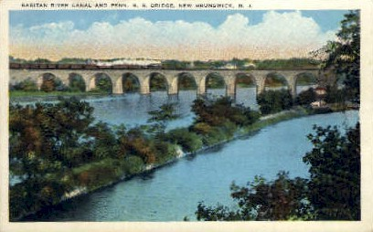 Raritan River Canal & Penna R. R. Bridge - New Brunswick, New Jersey NJ Postcard