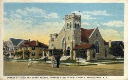 First Baptist Church - Asbury Park, New Jersey NJ Postcard