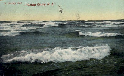 A Stormy Sea - Ocean Grove, New Jersey NJ Postcard
