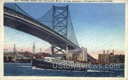 Delaware River Bridge - Camden, New Jersey NJ Postcard
