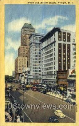 Broad & Market Streets - Newark, New Jersey NJ Postcard