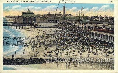 Beach & Casino - Asbury Park, New Jersey NJ Postcard
