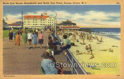 North End Beach, North End Hotel - Ocean Grove, New Jersey NJ Postcard